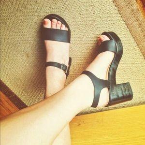 American Apparel Wooden Heel Sandal